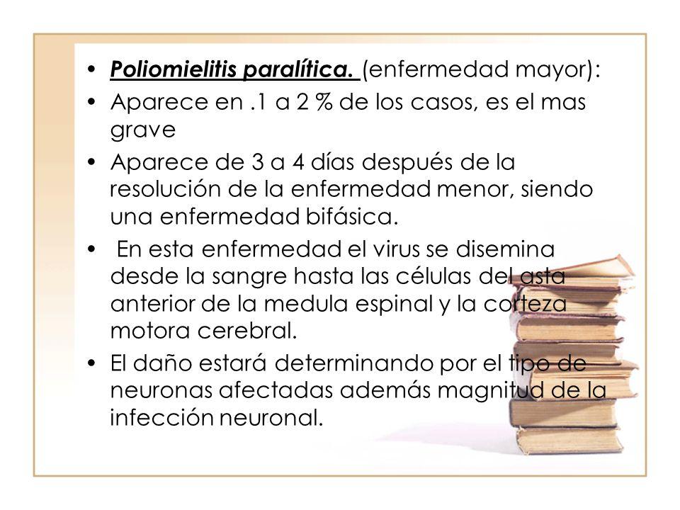 Poliomielitis paralítica. (enfermedad mayor): Aparece en.1 a 2 % de los casos, es el mas grave Aparece de 3 a 4 días después de la resolución de la en