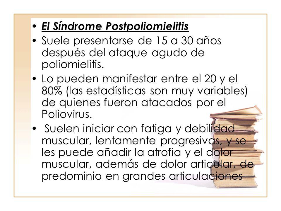 El Síndrome Postpoliomielitis Suele presentarse de 15 a 30 años después del ataque agudo de poliomielitis. Lo pueden manifestar entre el 20 y el 80% (