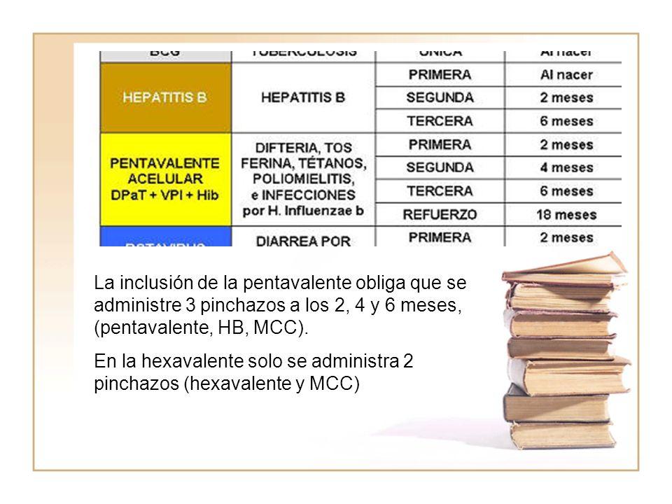 La inclusión de la pentavalente obliga que se administre 3 pinchazos a los 2, 4 y 6 meses, (pentavalente, HB, MCC). En la hexavalente solo se administ