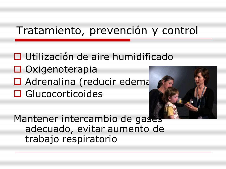 Tratamiento, prevención y control Utilización de aire humidificado Oxigenoterapia Adrenalina (reducir edema) Glucocorticoides Mantener intercambio de