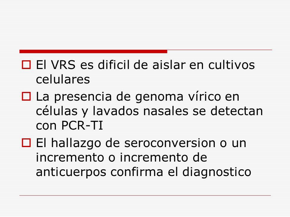 El VRS es dificil de aislar en cultivos celulares La presencia de genoma vírico en células y lavados nasales se detectan con PCR-TI El hallazgo de ser
