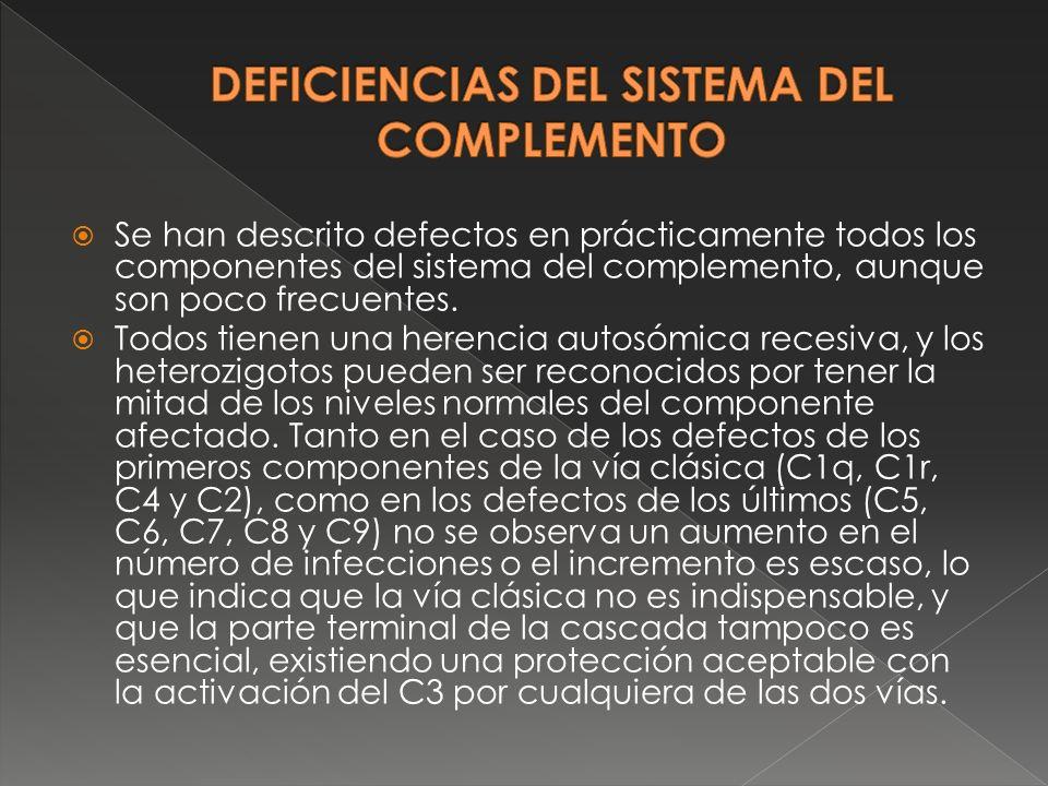 Se han descrito defectos en prácticamente todos los componentes del sistema del complemento, aunque son poco frecuentes. Todos tienen una herencia aut