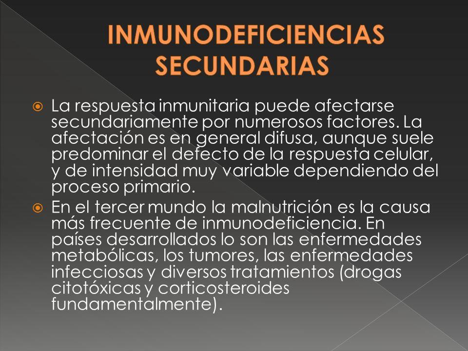 La respuesta inmunitaria puede afectarse secundariamente por numerosos factores. La afectación es en general difusa, aunque suele predominar el defect