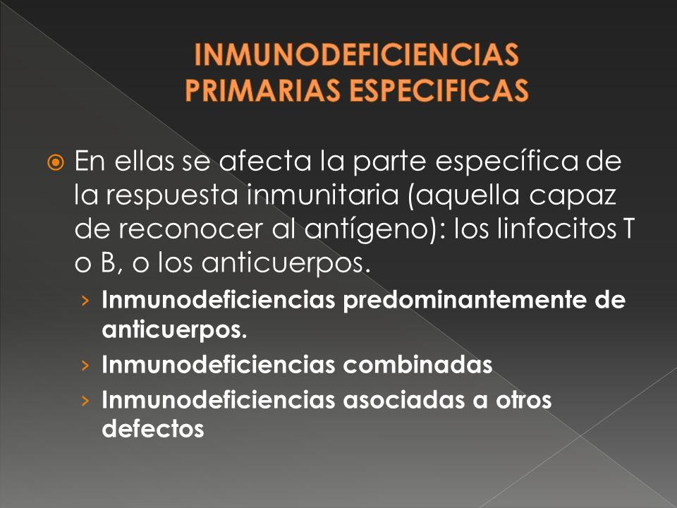 Si se afecta solo la producción de anticuerpos hablamos de una inmunodeficiencia humoral, que puede afectar únicamente a la producción de anticuerpos de la clase IgA (deficit selectivo de IgA), a la producción de IgA e IgG (Sindrome de Hiper IgM) o a todas las clases de inmunoglobulinas (agammaglobulinemia ligada al sexo e inmunodeficiencia variable común).