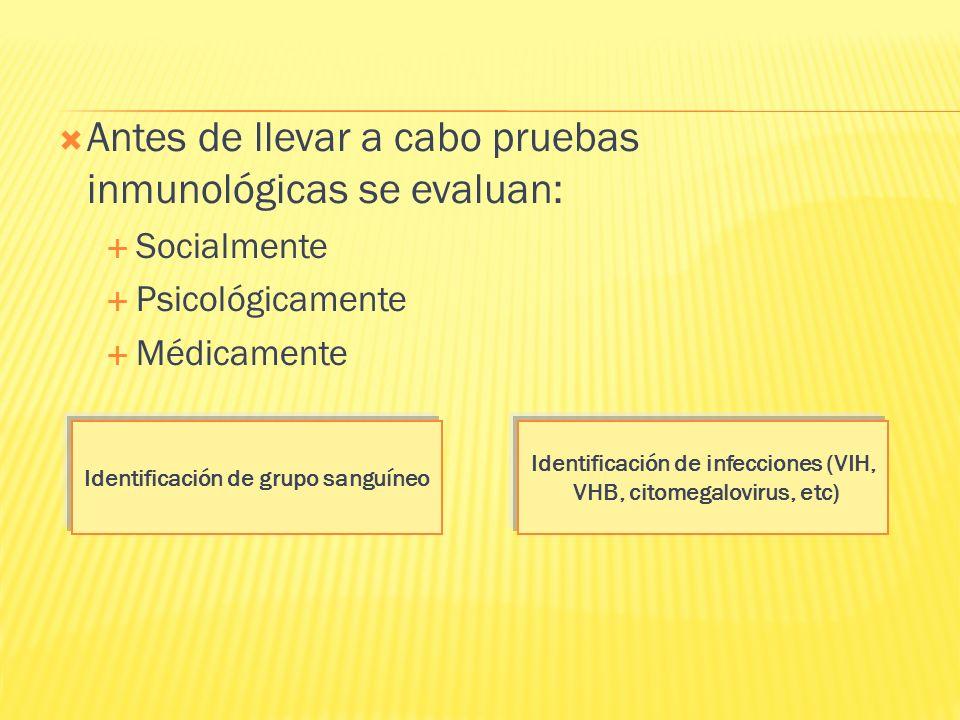 Antes de llevar a cabo pruebas inmunológicas se evaluan: Socialmente Psicológicamente Médicamente Identificación de grupo sanguíneo Identificación de