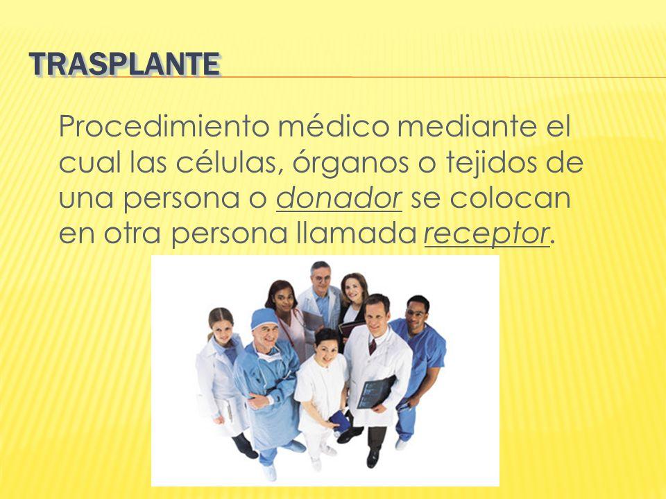 TRASPLANTETRASPLANTE Procedimiento médico mediante el cual las células, órganos o tejidos de una persona o donador se colocan en otra persona llamada