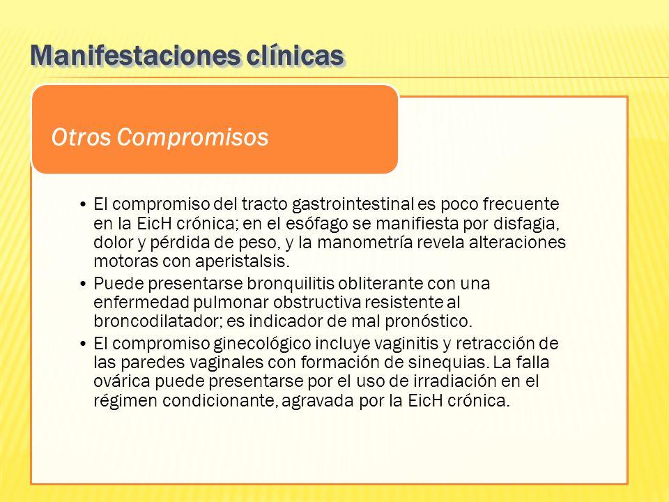 El compromiso del tracto gastrointestinal es poco frecuente en la EicH crónica; en el esófago se manifiesta por disfagia, dolor y pérdida de peso, y l