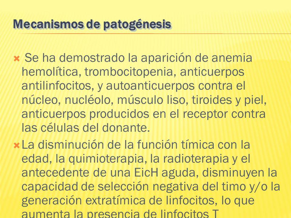 Se ha demostrado la aparición de anemia hemolítica, trombocitopenia, anticuerpos antilinfocitos, y autoanticuerpos contra el núcleo, nucléolo, músculo