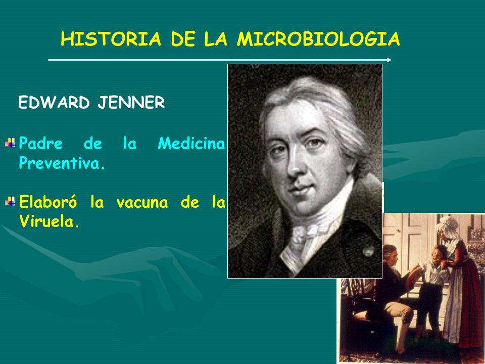 HISTORIA DE LA MICROBIOLOGIA EDWARD JENNER Padre de la Medicina Preventiva. Elaboró la vacuna de la Viruela.