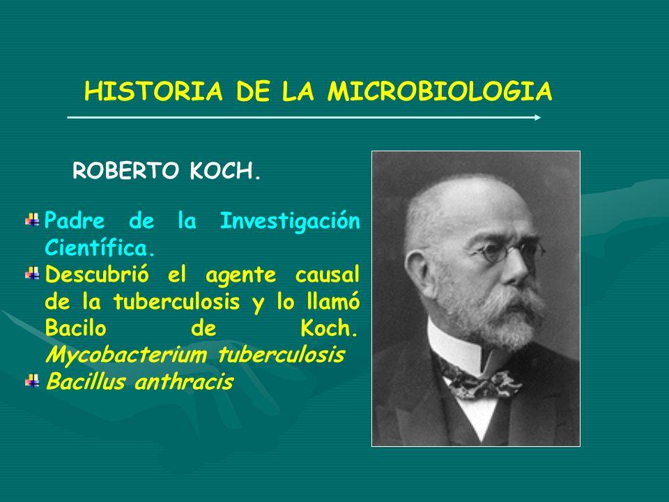 HISTORIA DE LA MICROBIOLOGIA ROBERTO KOCH. Padre de la Investigación Científica. Descubrió el agente causal de la tuberculosis y lo llamó Bacilo de Ko
