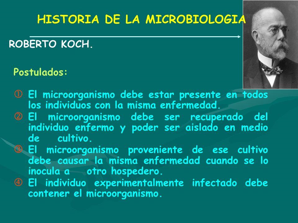 HISTORIA DE LA MICROBIOLOGIA ROBERTO KOCH. Postulados: El microorganismo debe estar presente en todos los individuos con la misma enfermedad. El micro