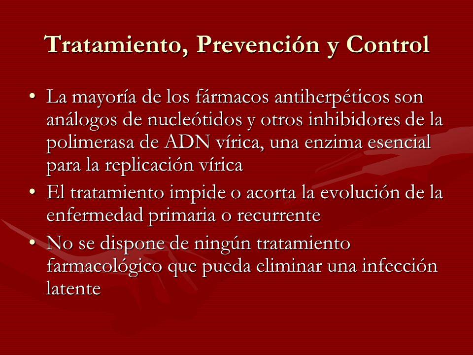 Tratamiento, Prevención y Control La mayoría de los fármacos antiherpéticos son análogos de nucleótidos y otros inhibidores de la polimerasa de ADN ví