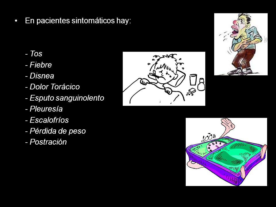 En pacientes sintomáticos hay: - Tos - Fiebre - Disnea - Dolor Torácico - Esputo sanguinolento - Pleuresía - Escalofríos - Pérdida de peso - Postració