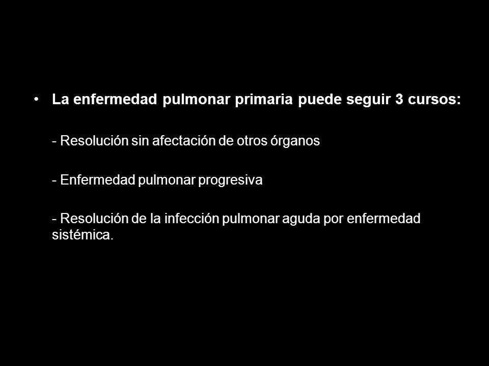 La enfermedad pulmonar primaria puede seguir 3 cursos: - Resolución sin afectación de otros órganos - Enfermedad pulmonar progresiva - Resolución de l