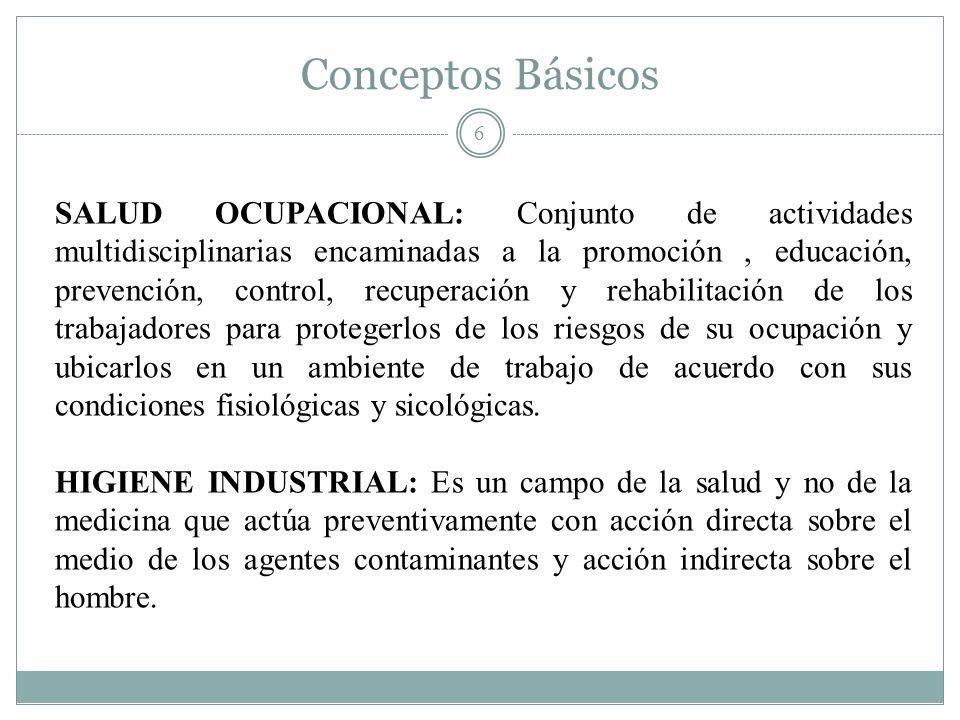 Conceptos Básicos 6 SALUD OCUPACIONAL: Conjunto de actividades multidisciplinarias encaminadas a la promoción, educación, prevención, control, recuper
