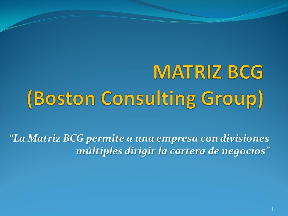 La Matriz BCG permite a una empresa con divisiones múltiples dirigir la cartera de negocios 1