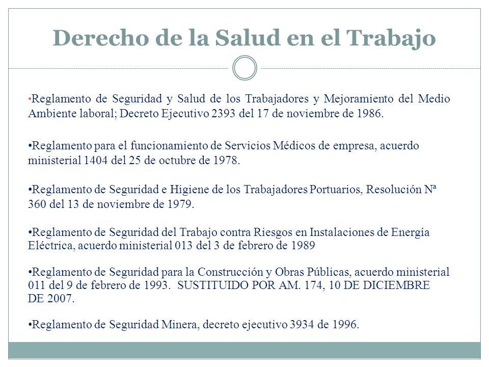 Reglamento de Seguridad y Salud de los Trabajadores y Mejoramiento del Medio Ambiente laboral; Decreto Ejecutivo 2393 del 17 de noviembre de 1986. Reg