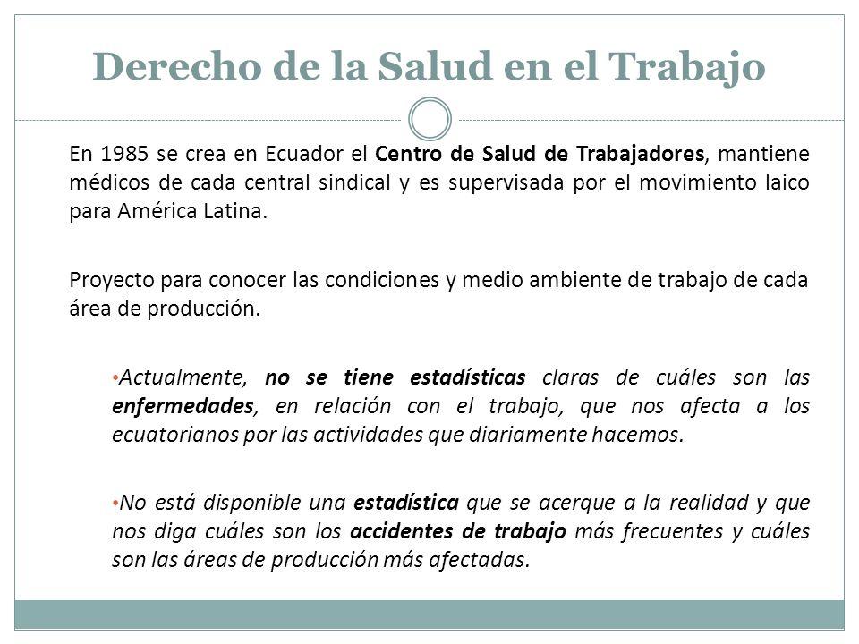 En 1985 se crea en Ecuador el Centro de Salud de Trabajadores, mantiene médicos de cada central sindical y es supervisada por el movimiento laico para