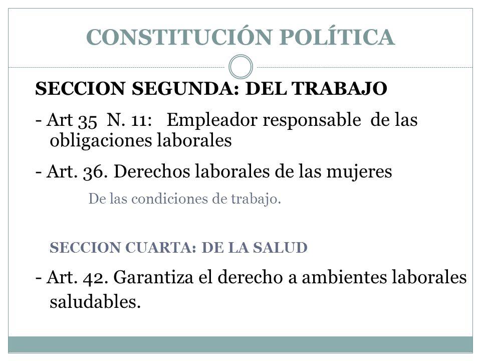 CONSTITUCIÓN POLÍTICA SECCION SEGUNDA: DEL TRABAJO - Art 35 N. 11: Empleador responsable de las obligaciones laborales - Art. 36. Derechos laborales d