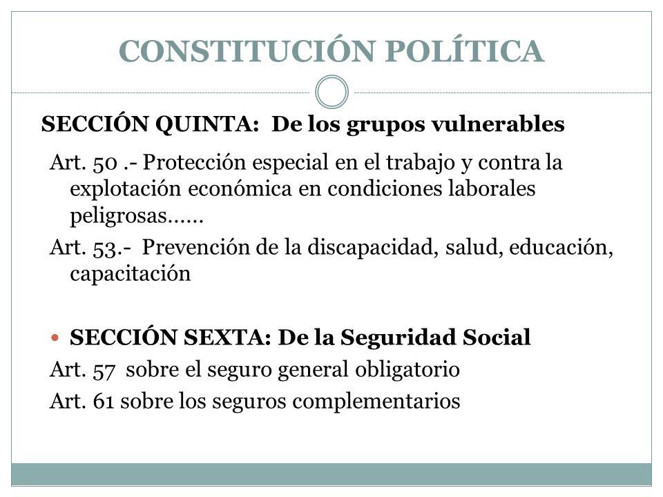 SECCIÓN QUINTA: De los grupos vulnerables Art. 50.- Protección especial en el trabajo y contra la explotación económica en condiciones laborales pelig