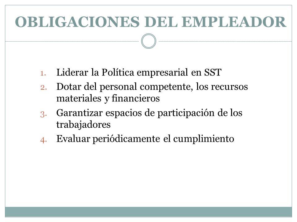 OBLIGACIONES DEL EMPLEADOR 1. Liderar la Política empresarial en SST 2. Dotar del personal competente, los recursos materiales y financieros 3. Garant