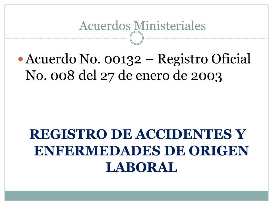 Acuerdo No. 00132 – Registro Oficial No. 008 del 27 de enero de 2003 REGISTRO DE ACCIDENTES Y ENFERMEDADES DE ORIGEN LABORAL Acuerdos Ministeriales