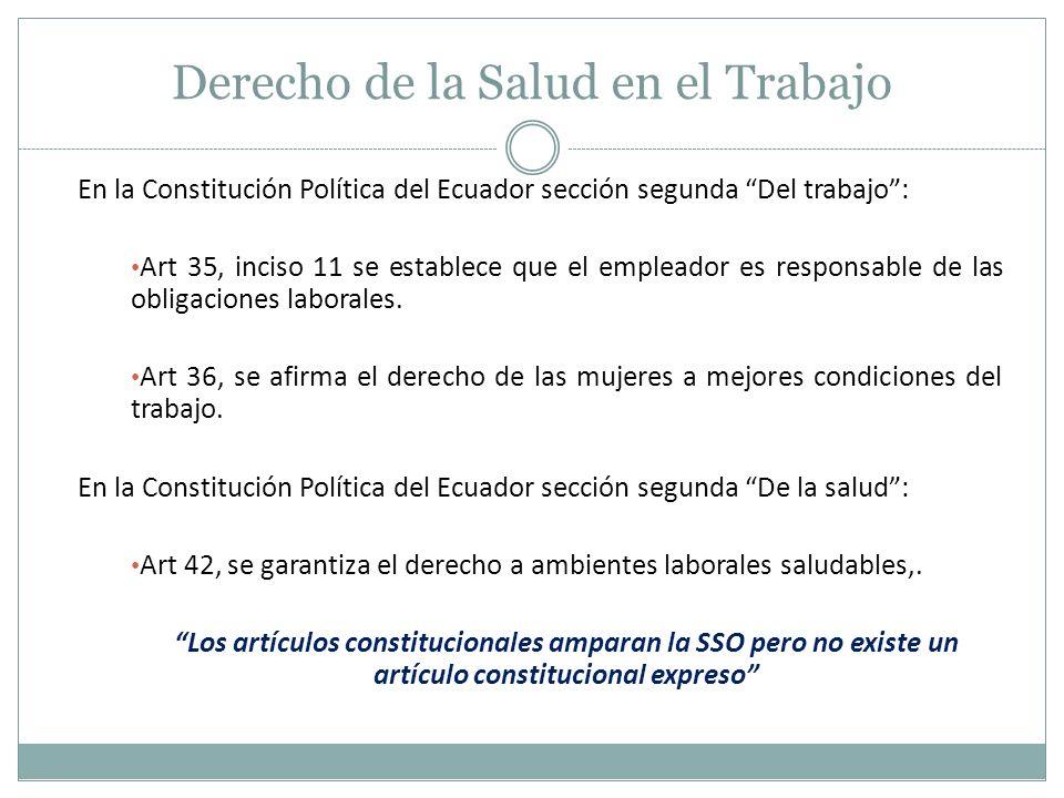 Derecho de la Salud en el Trabajo En la Constitución Política del Ecuador sección segunda Del trabajo: Art 35, inciso 11 se establece que el empleador