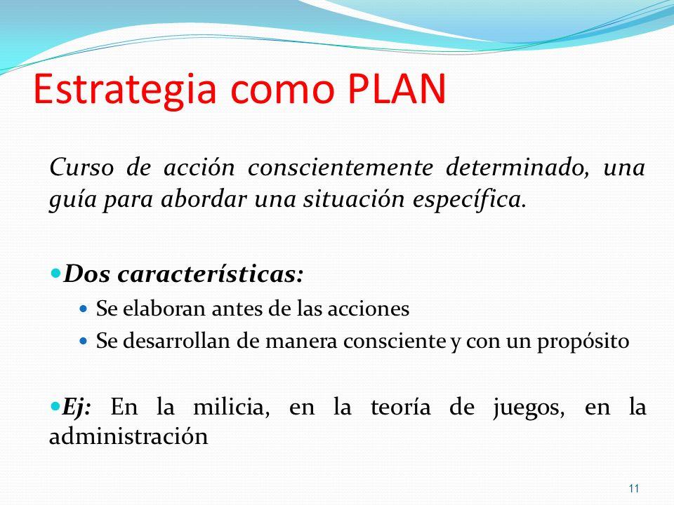 Estrategia como PLAN Curso de acción conscientemente determinado, una guía para abordar una situación específica. Dos características: Se elaboran ant