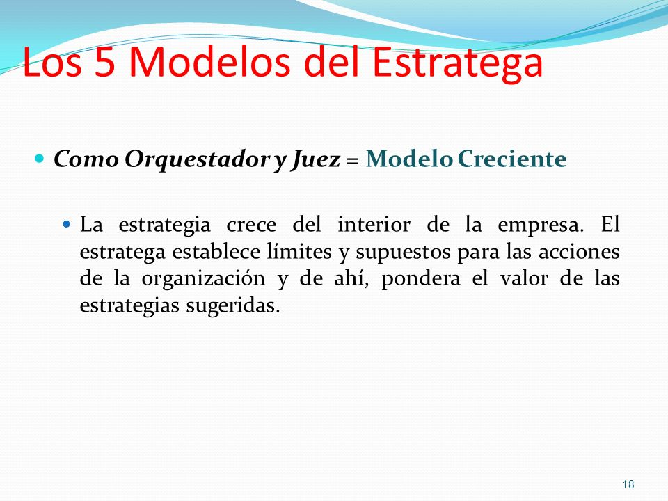 Los 5 Modelos del Estratega Como Orquestador y Juez = Modelo Creciente La estrategia crece del interior de la empresa. El estratega establece límites
