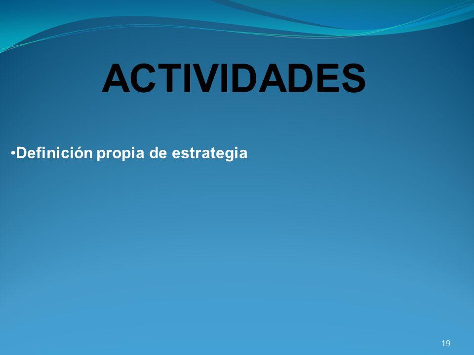 ACTIVIDADES Definición propia de estrategia 19