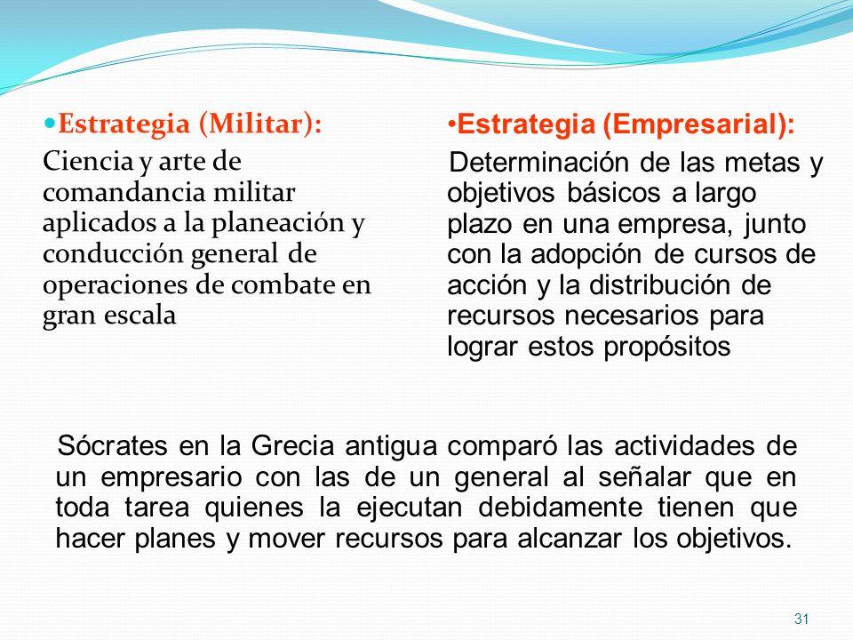 Estrategia (Militar): Ciencia y arte de comandancia militar aplicados a la planeación y conducción general de operaciones de combate en gran escala Es