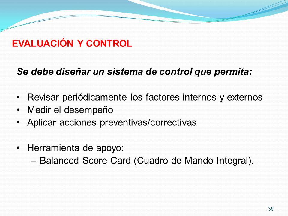 Se debe diseñar un sistema de control que permita: Revisar periódicamente los factores internos y externos Medir el desempeño Aplicar acciones prevent