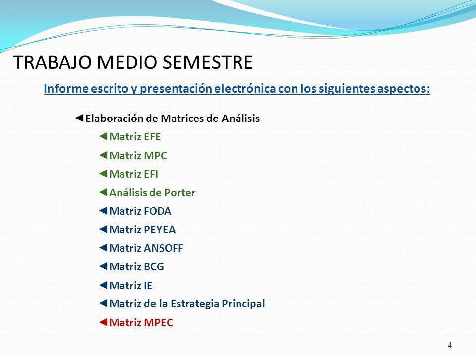 TRABAJO MEDIO SEMESTRE Informe escrito y presentación electrónica con los siguientes aspectos: Elaboración de Matrices de Análisis Matriz EFE Matriz M