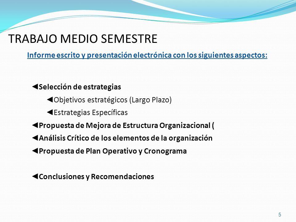 TRABAJO MEDIO SEMESTRE Informe escrito y presentación electrónica con los siguientes aspectos: Selección de estrategias Objetivos estratégicos (Largo