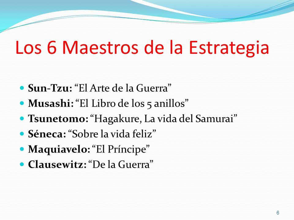 Los 6 Maestros de la Estrategia Sun-Tzu: El Arte de la Guerra Musashi: El Libro de los 5 anillos Tsunetomo: Hagakure, La vida del Samurai Séneca: Sobr
