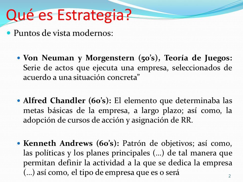 Qué es Estrategia? Puntos de vista modernos: Von Neuman y Morgenstern (50s), Teoría de Juegos: Serie de actos que ejecuta una empresa, seleccionados d
