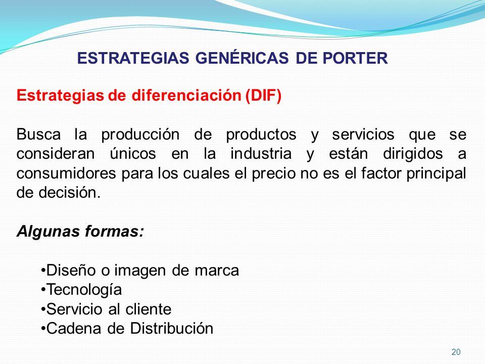 Estrategias de diferenciación (DIF) Busca la producción de productos y servicios que se consideran únicos en la industria y están dirigidos a consumid
