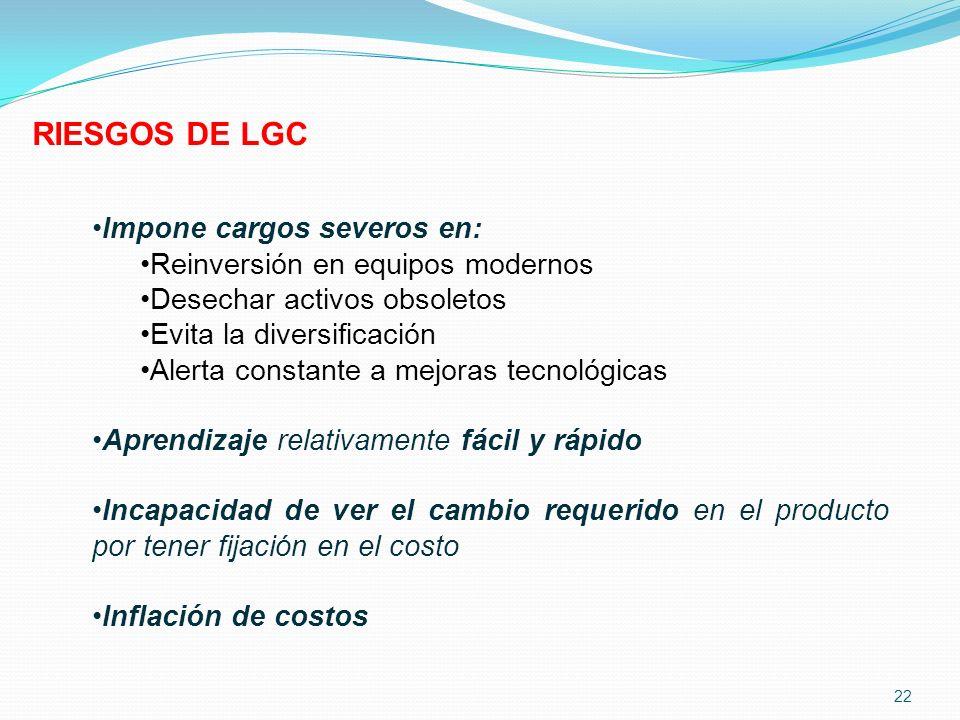 RIESGOS DE LGC Impone cargos severos en: Reinversión en equipos modernos Desechar activos obsoletos Evita la diversificación Alerta constante a mejora