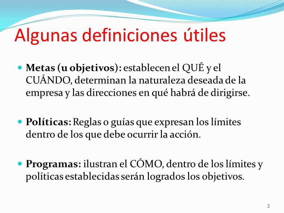 Algunas definiciones útiles Metas (u objetivos): establecen el QUÉ y el CUÁNDO, determinan la naturaleza deseada de la empresa y las direcciones en qu