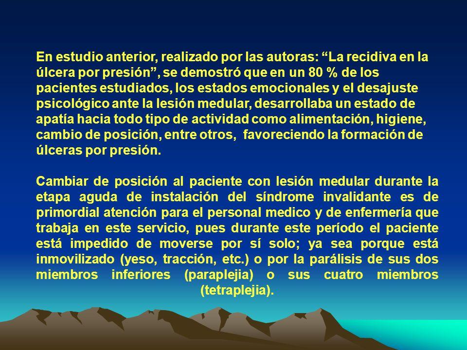 TABLA 6 Fuente: Encuesta a personas con lesión Medular ingresados en el servicio de lesionado medular del Centro Nacional de Rehabilitación Julio Díaz en el período de octubre del 2002 a abril del 2003.