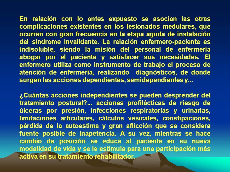 TABLA 7 Fuente: Encuesta a personas con lesión Medular ingresados en el servicio de lesionado medular del Centro Nacional de Rehabilitación Julio Díaz en el período de octubre del 2002 a abril del 2003.