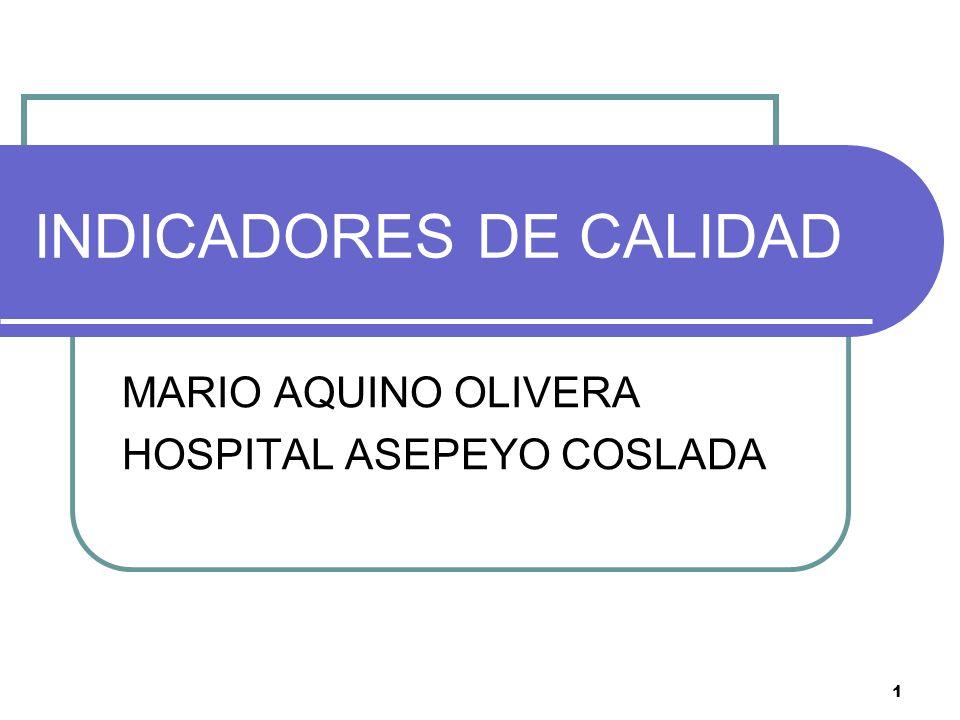 1 INDICADORES DE CALIDAD MARIO AQUINO OLIVERA HOSPITAL ASEPEYO COSLADA