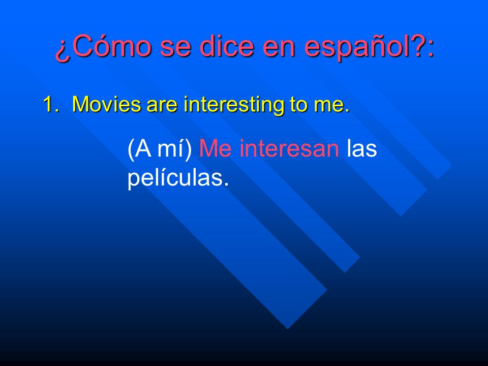 ¿Cómo se dice en español. 1. Movies are interesting to me.