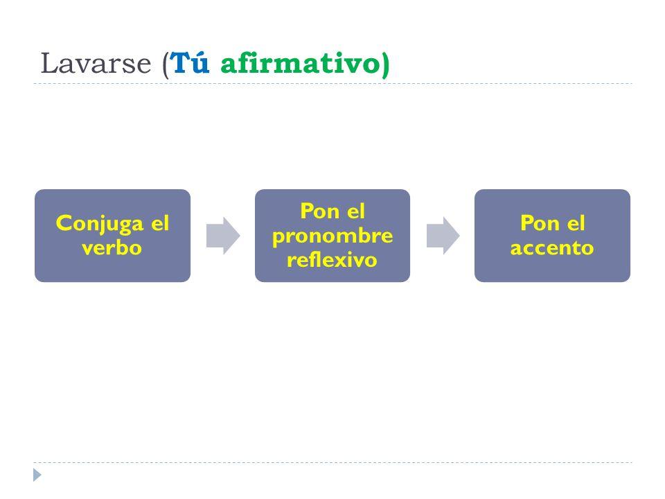 Lavarse ( Tú afirmativo) Conjuga el verbo Pon el pronombre reflexivo Pon el accento