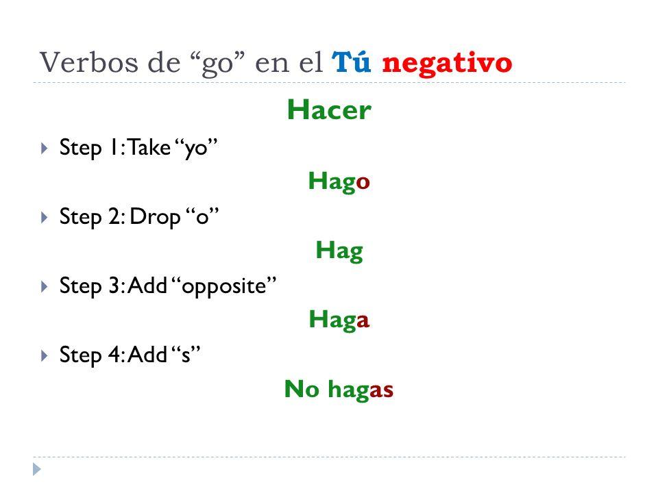 Verbos de go en el Tú negativo Hacer Step 1: Take yo Hago Step 2: Drop o Hag Step 3: Add opposite Haga Step 4: Add s No hagas