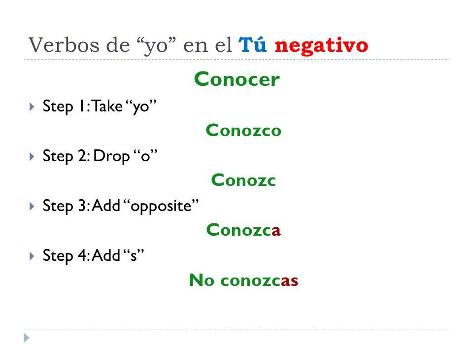 Verbos de yo en el Tú negativo Conocer Step 1: Take yo Conozco Step 2: Drop o Conozc Step 3: Add opposite Conozca Step 4: Add s No conozcas