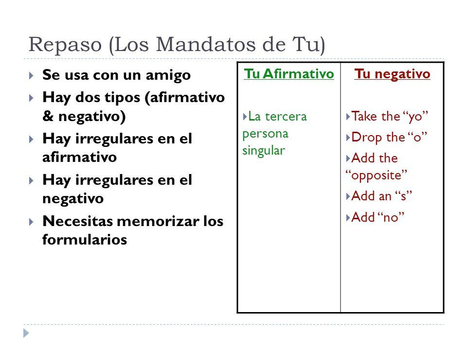 Repaso (Los Mandatos de Tu) Se usa con un amigo Hay dos tipos (afirmativo & negativo) Hay irregulares en el afirmativo Hay irregulares en el negativo