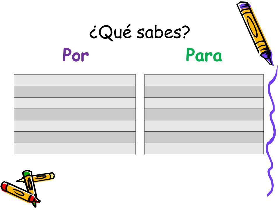 ¿Qué sabes? PorPara