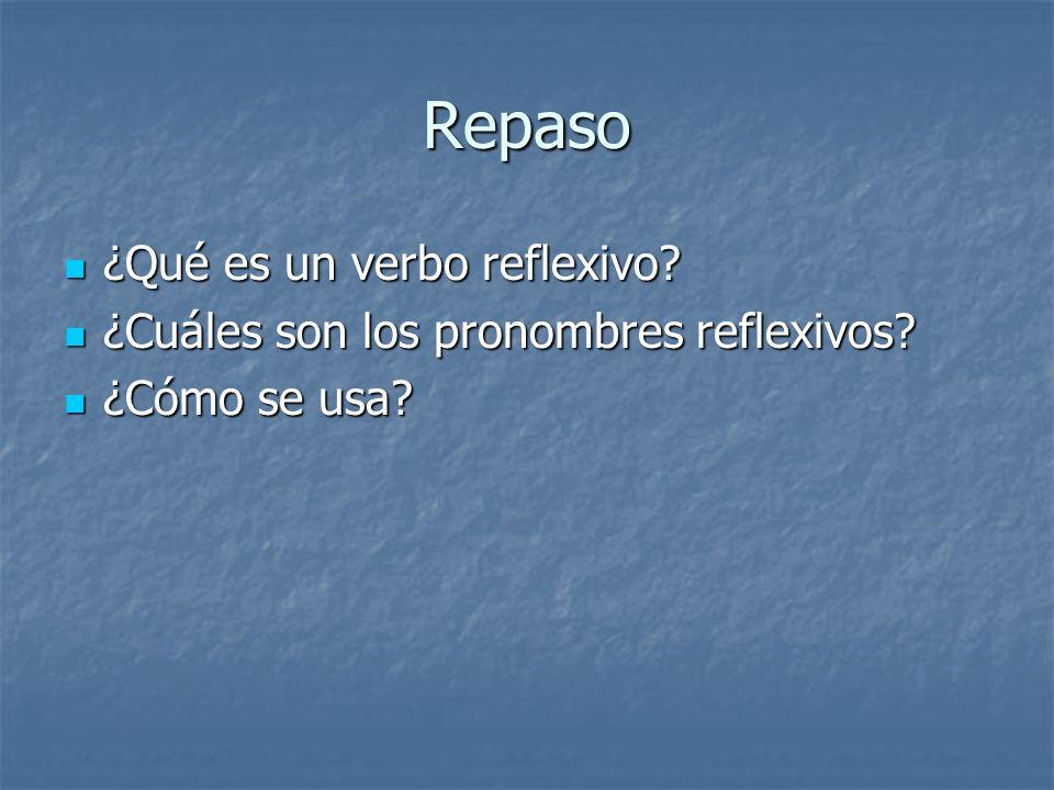 Repaso ¿Qué es un verbo reflexivo.¿Qué es un verbo reflexivo.
