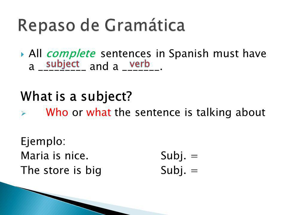 Subject pronouns replace the subject but do not change the meaning of the sentence.